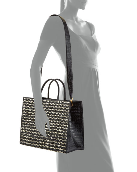 Image 4 of 4: Nancy Gonzalez Emma Large Woven Crocodile Tote Bag
