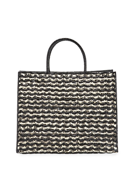 Image 1 of 4: Nancy Gonzalez Emma Large Woven Crocodile Tote Bag