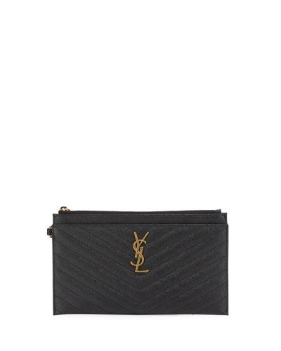 YSL Monogram Pouch Wristlet Bag