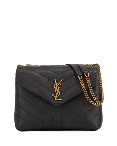 Loulou Small Pebbled Leather V-Flap Shoulder Bag
