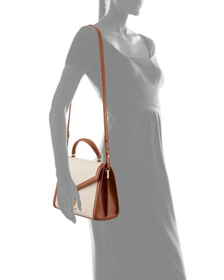 Saint Laurent Cassandra Medium Linen Toile Canvas Top-Handle Bag