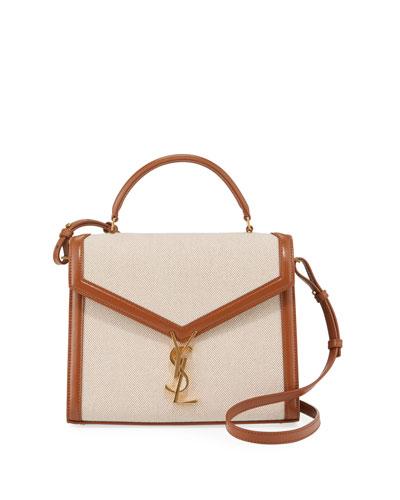 Cassandra Medium Linen Toile Canvas Top-Handle Bag