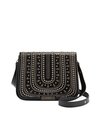 Amalia Large Full-Flap Crossbody Bag with Allover Studs