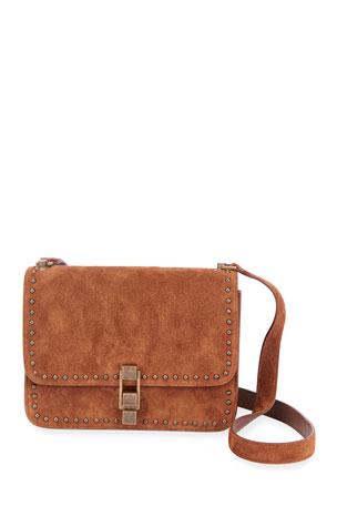 Saint Laurent Carre Medium Studded Suede Crossbody Bag