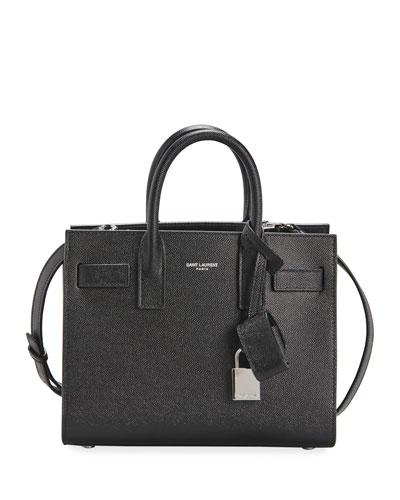 Sac de Jour Nano Grain de Poudre Tech Leather Satchel Bag