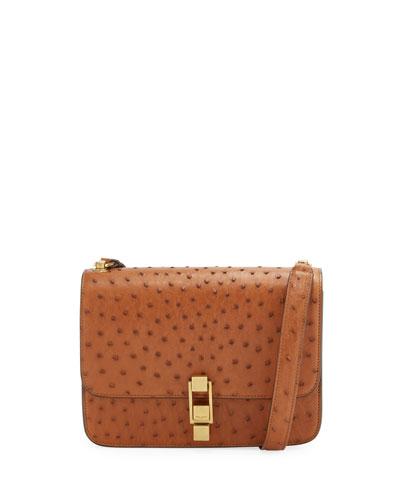 Carre Medium Ostrich Crossbody Bag