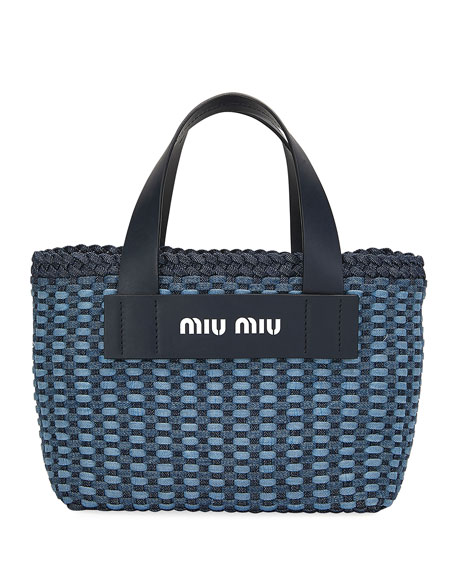 Miu Miu Intreccio Denim Tote Bag