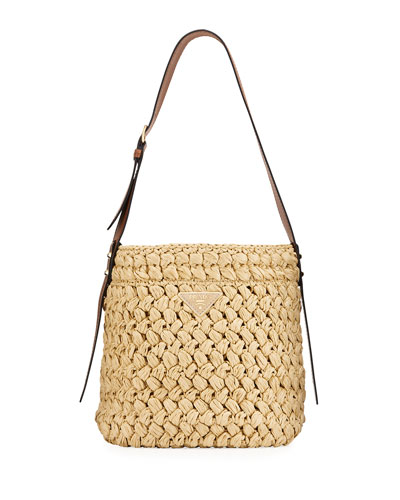 Raffia Woven Bucket Bag