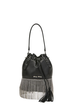 Miu Miu Napa Starlight Bucket Bag with Crystal Fringe