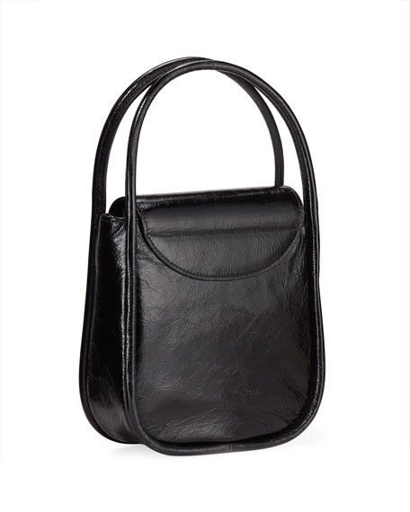 Image 3 of 4: Lucy Top-Handle Bag in Crinkle Leather
