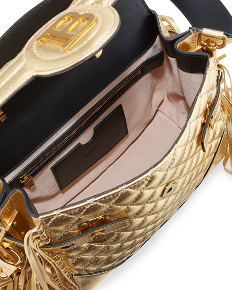 Balmain BBuzz 23 Quilted Metallic Shoulder Bag