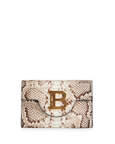 B Medallion Python Clutch Bag