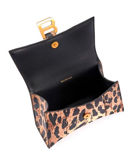 Balenciaga Hourglass XS Leopard-Print Leather Top-Handle Bag