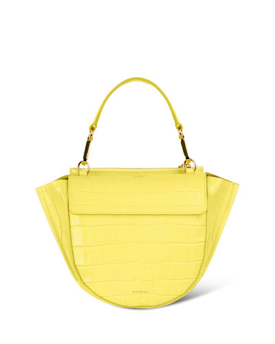 Hortensia Mini Croco Calf Leather Top-Handle Bag