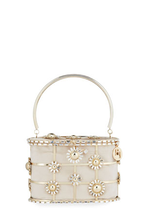 Rosantica Holli Flower Pearl-Handle Caged Minaudiere Bag