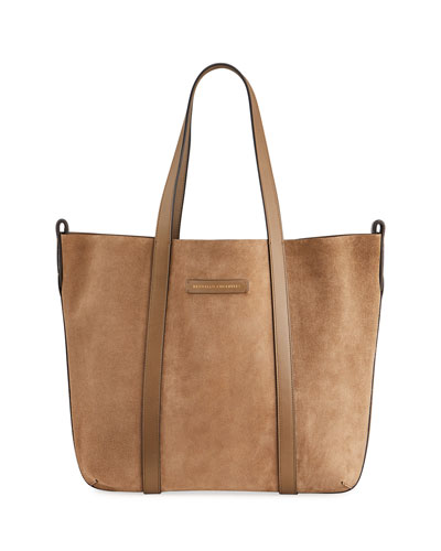 Reversible Suede & Leather Tote Bag with Monili Tab Detail