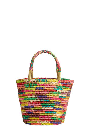 Sensi Studio Baby Multicolored Woven Straw Basket Tote Bag w/ Double Golden Thread
