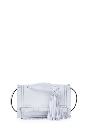 Valentino Garavani The Rope Small Fringe Leather Clutch Bag