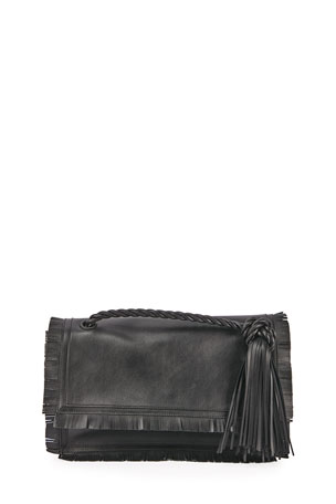 Valentino Garavani The Rope Fringe Leather Clutch Bag
