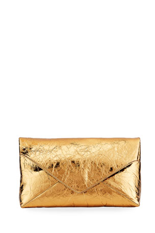 Dries Van Noten Crinkle Metallic Leather Envelope Clutch Bag