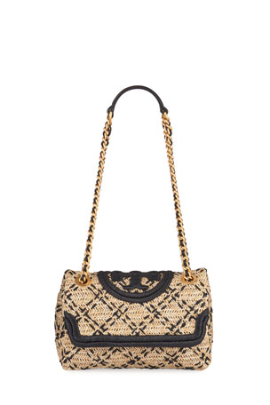 Tory Burch Fleming Raffia Shoulder Bag