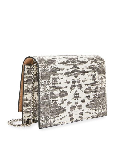 Alexander McQueen Mini Snake-Print Crossbody Bag with Small Skull