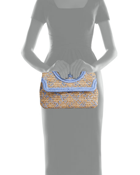 Image 4 of 4: Tory Burch Fleming Soft Straw Clutch Bag