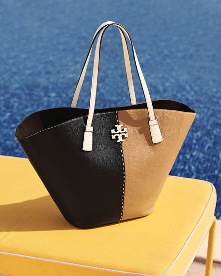Image 2 of 3: Tory Burch McGraw Colorblock Leather Tote bag