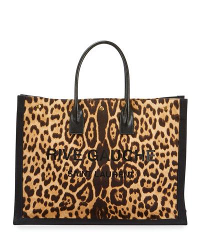 Noe Leopard-Print Rive Gauche Tote Bag