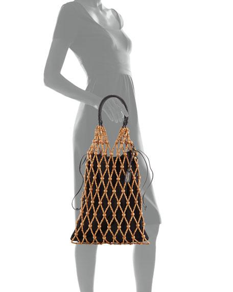 Prada Wood-Net Drawstring Top Handle Bag