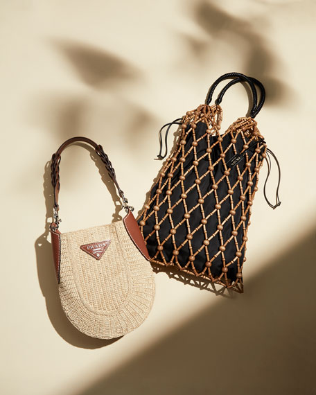 Image 2 of 5: Small Raffia Hobo Bag