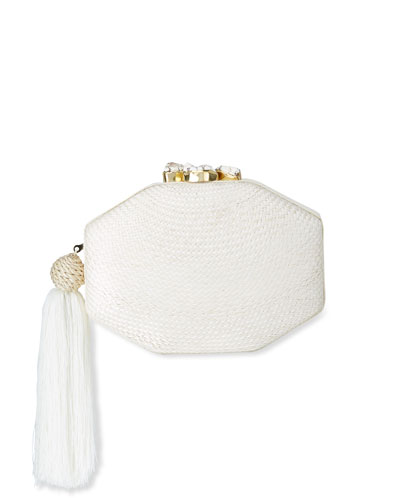 Sofia Woven Octagon Clutch Bag