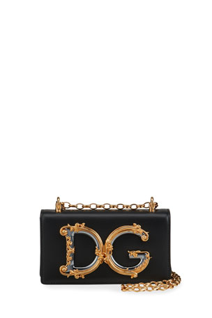 Dolce & Gabbana Barocco Leather Shoulder Bag