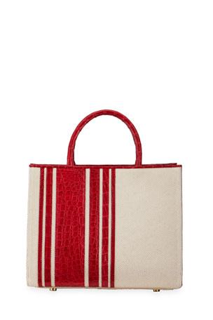 Nancy Gonzalez Emma Small Striped Crocodile & Linen Tote Bag