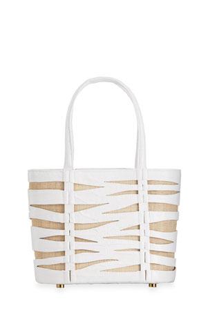 Nancy Gonzalez Zebra Small Crocodile/Linen Tote Bag