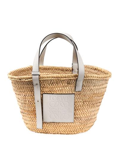 Woven Palm Basket Tote Bag