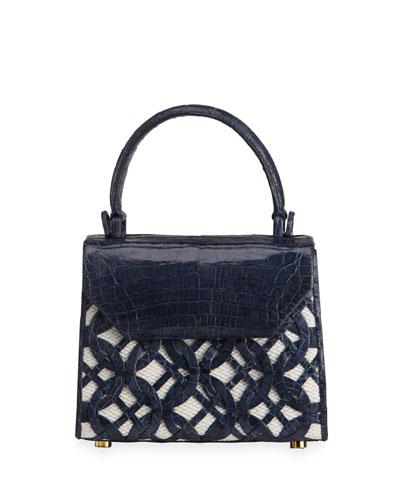 Lily Mini Circle Weave Linen/Crocodile Top-Handle Bag