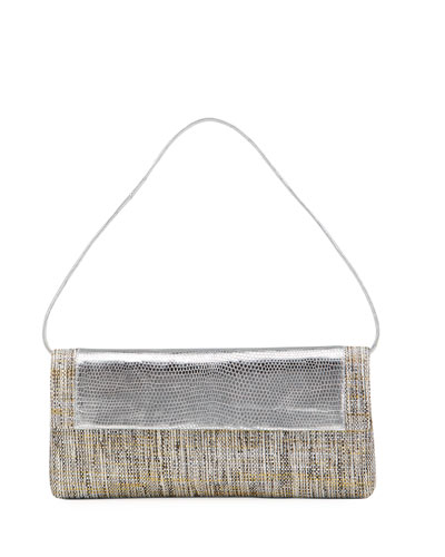 Gotham Metallic Lizard/Raffia Flap Clutch Bag
