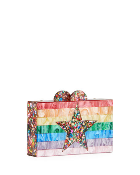 Bari Lynn Girl's Rainbow Star Box Clutch Bag