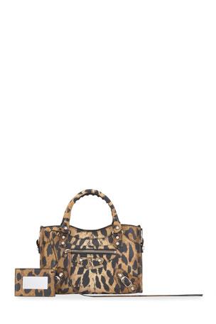 Balenciaga Classic City Mini AJ Leopard Satchel Bag