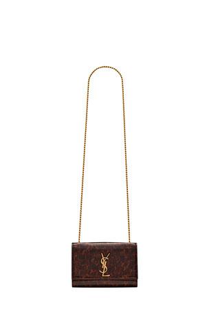 Saint Laurent Kate Small Tortoise Patent Calfskin Crossbody Bag
