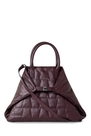 Akris Ai Medium Quilted Trapezoid Tote Bag