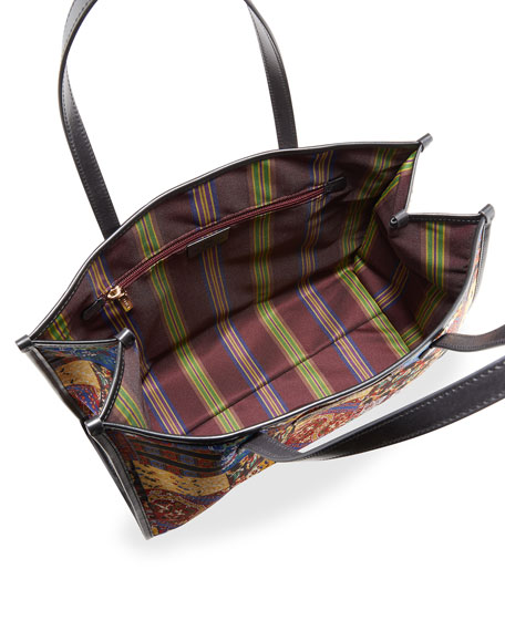 Image 2 of 4: Etro XL Patchwork-Print Shopper Tote Bag