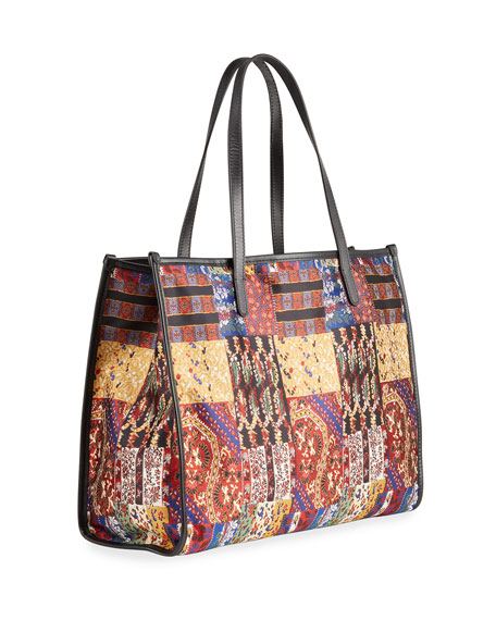 Image 3 of 4: Etro XL Patchwork-Print Shopper Tote Bag