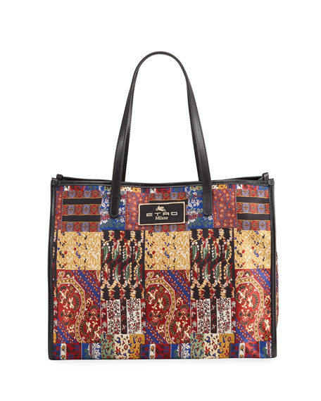 Image 1 of 4: Etro XL Patchwork-Print Shopper Tote Bag