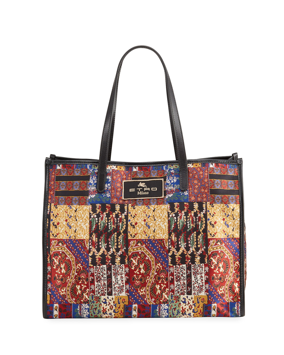 Etro XL Patchwork-Print Shopper Tote Bag