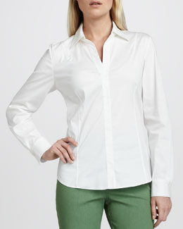 Lafayette 148 New York Katie Stretch-Cotton Blouse