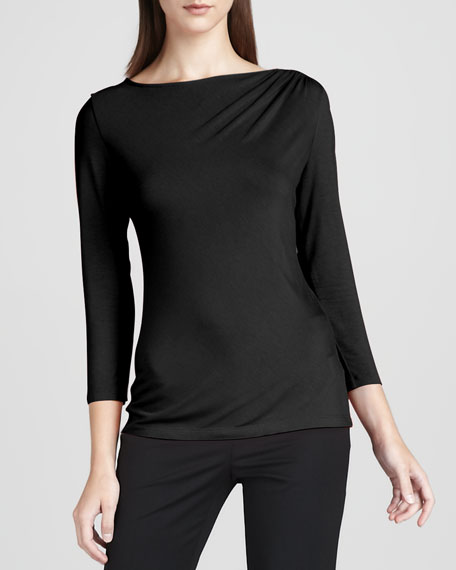 Three-Quarter-Sleeve Top, Black