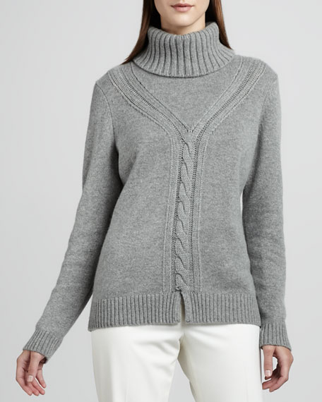 Cable-Knit Cashmere Turtleneck