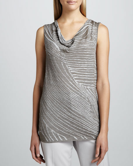 Striped Gauze Cowl-Neck Top